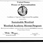 Certificate WA Volunteer - Sustainable Westford